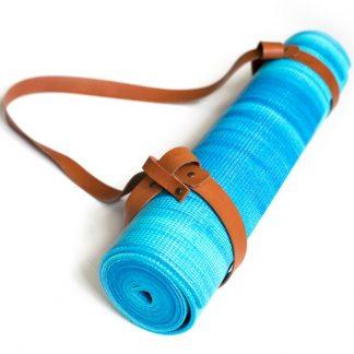 yogamat blauw met cognac trap