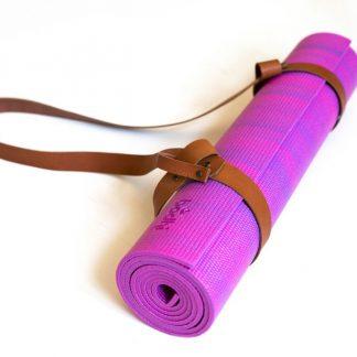 yogamat roze strap cognac